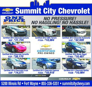 Summit city chevrolet for Shaver motors fort wayne
